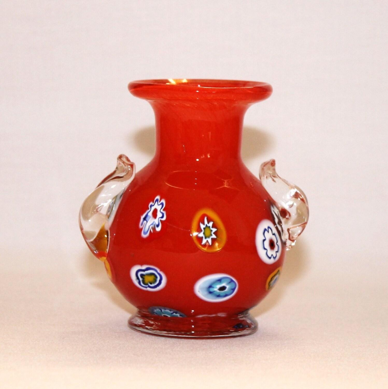 Murano Red Millefiori Glass Bud Vase Hand Blown Cased Art