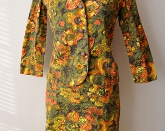 Vintage 1950s Floral Tapestry Jacket and Pencil Skirt Suit sz. XXS 26 Inch Waist