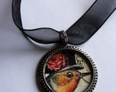 EDWARDIAN Whimsical Sparrow Bird Necklace