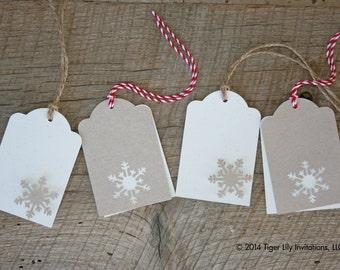 Snowflake Christmas Tags Rustic - set of 5