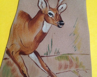 Hand Painted Windsor Calif Silk Neck Tie – 1940s Jumping Stag