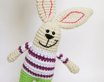 Toy bunny baby rattle - amigurumi bunny with green pants and striped shirt - organic baby toy - easter rabbit