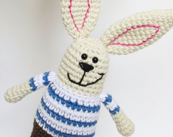 Organic bunny rattle - rabbit soft toy with chocolate brown pants and striped shirt - eco friendly baby toy