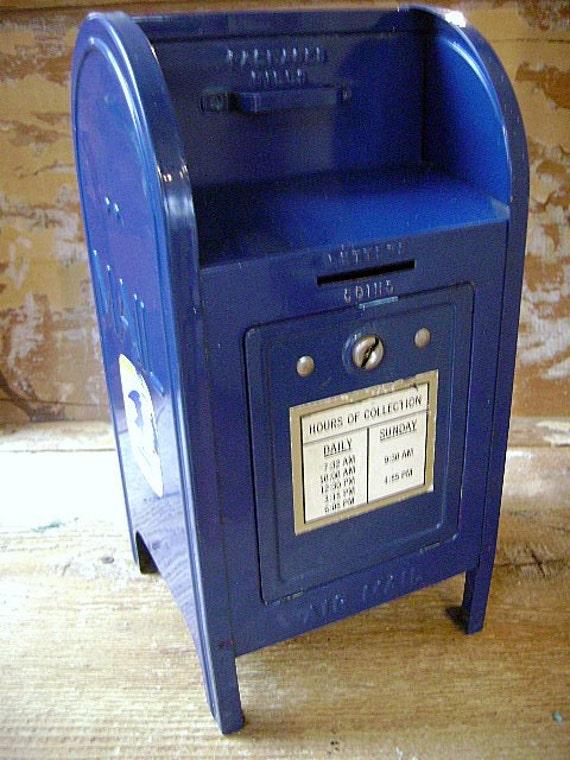 Vintage Steel Brumberger Usps Blue Mailbox Bank Novelty Bank