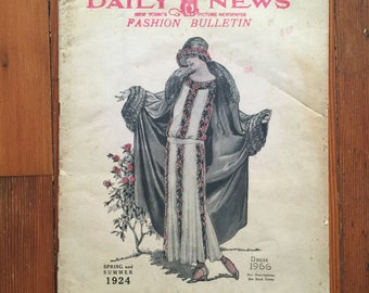 NYDN Fashion Bulletin Spring Summer 1924 flapper costume reference paper magazine