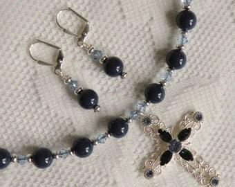 Dark Lapis Swarovski Crystal Pearl and Light Sapphire Swarovski Crystal Necklace with Montana Swarovski Crystal Silver Filigree Cross