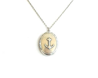 Anchor Locket- Silver Nautical Locket Necklace- Anchor Necklace- Sterling Silver Ox and Brass Ox Finishn