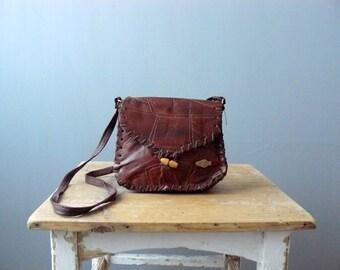 Vintage brown purse. 1970s brown leather bag. shoulder bag
