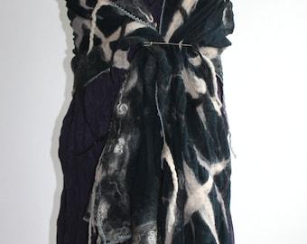 Nuno felted silk scarves - black, white, grey wool felt & silk Shawl wrap, made to order, lagenlook pashmina artsy fibre Art to Wear ooak