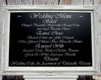 WEDDING RECEPTION FURNITURE Large Elegant Wedding Menu Board Framed Chalkboard Large Rustic Distressed Framed White Magnetic Baroque