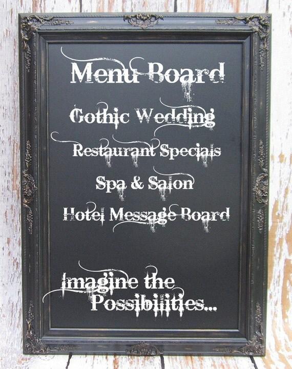"Rustic Black Framed Chalkboard EXTRA-LARGE CHALKBOARD For Dining Room HuGE Menu Board 44""x32"" Gothic Wedding Black Distressed Chalkboard"