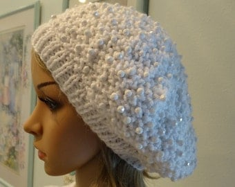 HAT,TAM/BERET, Hand beaded, Winter White, hand knitted with white sparkling beads, soft worsted weight yarn