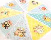 Vintage Animal Baby Shower Banner, Bunting, Pennant Fabric Flags, Baby Girl Nursery Wall Art Hanging, Neutral Baby Shower, Easter Playroom