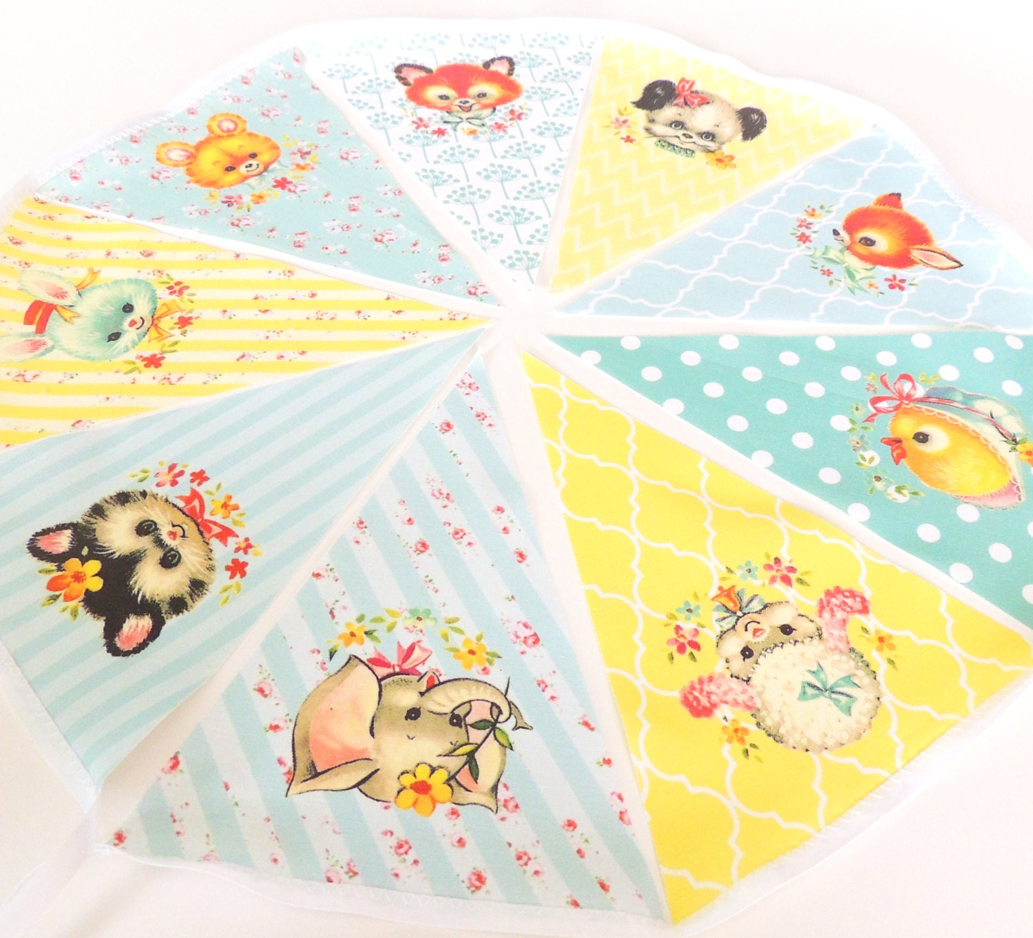 Vintage animal baby shower banner bunting pennant fabric for Baby themed fabric