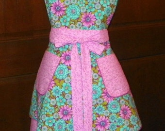 Retro Style Double Skirt Lined Bib Apron Teal and Orchard Floral