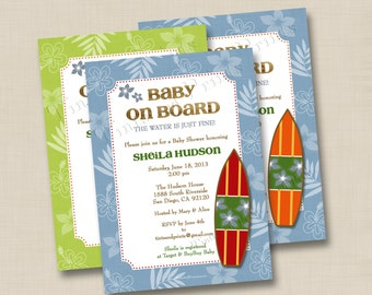 Baby on Board Surfboard Custom Baby Shower or Engagement Party Invitation Design - or any occasion
