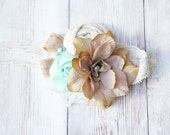 Magnificent Minty Magnolia - vintage inspired chiffon and lace headband  M2M Well Dressed Wolf Mint and Magnolia dress