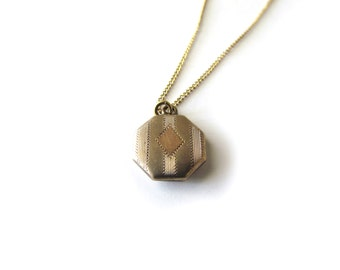 Antique Engraved Octagon Charm Necklace c.1920s
