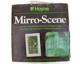 Scenic Mirror Tiles - Hoyne Mirro-Scene Quintessential Eighties Retro Wall Decor - Mirror Mural Mirro Tile
