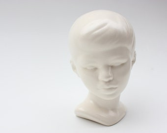 Vintage Boy Ceramic Bust in Cream Matte Glaze