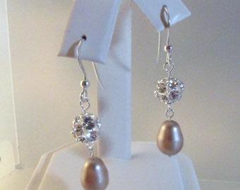 Pearl Earring, Swarovski Crystal Pearl Earring, Wedding Earring, Pearl Crystal Dangle, Wedding, Bride, Bridesmaid, Swarovski Pearl, Sterling
