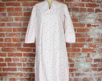 20s Cotton Dress . Antique Floral . Small - Medium