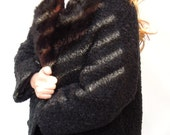 PERFECT vintage.persian lamb swing coat.50s-60s.fur collar.black.fully lined.tessiemay
