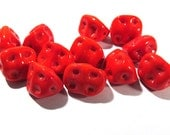 Red Lampwork Beads VINTAGE Japanese Glass Beads Twelve (12) Cherry RED Handmade Textured 14-16mm Vintage Jewelry Supplies Beading (D22)