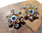 Weiss Aurora Borealis Rhinestone Earrings VINTAGE Signed Weiss AB Rhinestone Gold Tone Clip Earrings Ready to Wear Vintage Jewelry (R11)