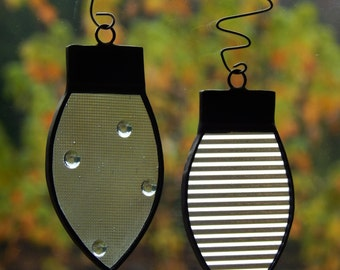 Stained Glass Christmas Bulb Ornaments Set of Two Clear Ribbed /Clear Dotted