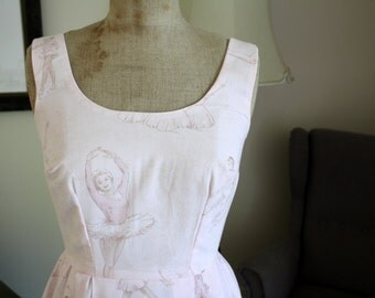 Vintage sheet fabric ballet dancer fifties tea dress summer ballerina wedding beach
