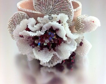 Creme de Cassis Flower - Statement Beaded Bracelet Cuff, Romantic Beaded  Bracelet for Women, Floral Bracelet, Silver and White Wedding