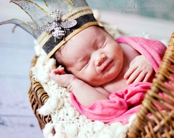 Whimsical Queen Bee Newborn Crown Prop