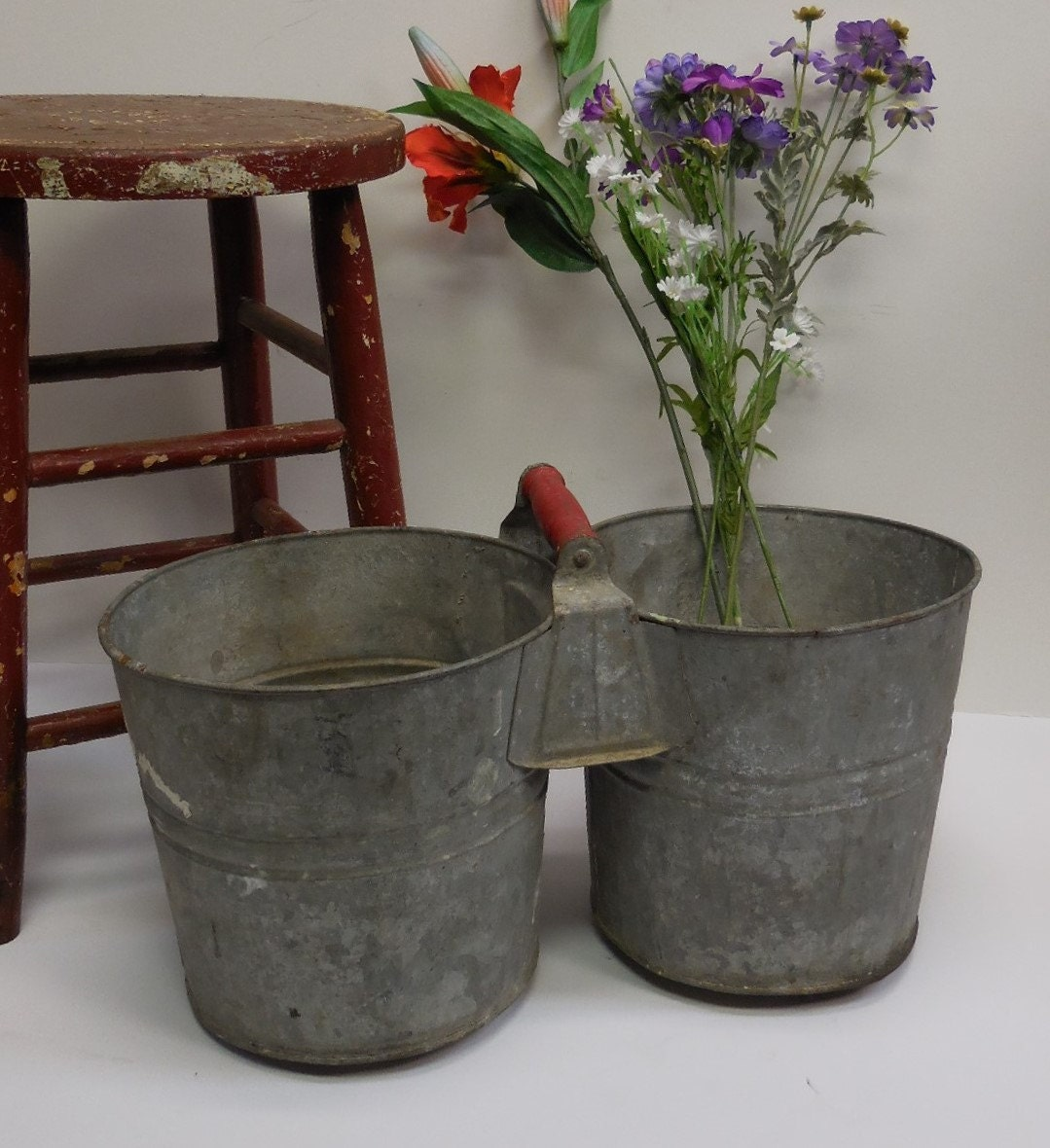 antique galvanized double buckets red wood handle industrial