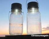 Diamond Quilted Jar Lamps 2 Unique Solar Mason Jar Lanterns, Outdoor Lighting, Clear Antique Coffee Diamond and Square Quilted Mason Jars