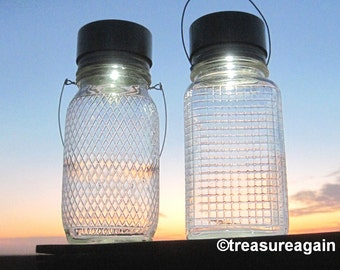 Diamond Quilted Jar Lamps 2 Unique Solar Mason Jar Lanterns, Outdoor Lighting, Clear Antique Coffee Diamond or Square Quilted Mason Jars