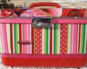 Roses Are Red Upcycled Vintage Carry On Case Make Up Case Luggage Train Case by My Cozy Cottage Designs One Of A Kind