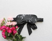 Black Satin 'Cherry Blossom' Brocade Blindfold Sleep Mask handmade to order by Ohhh Lulu