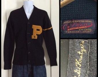 Vintage 1930's 1940's Princeton University College Letter P Varsity Black Cardigan Sweater size 40 looks Small Kratzer