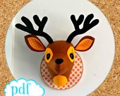 Deer head sewing pattern. Faux taxidermy. Woodland creature. Felt stag wall bust. Boys room decoration. Animal head to sew. Interior decor.