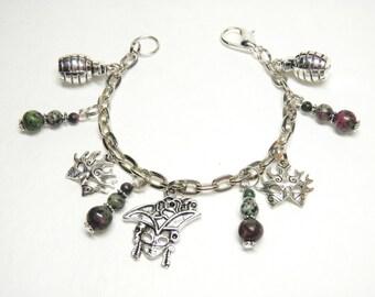 New Orleans Hand Grenade Mardi Gras Bracelet, Silver and Pewter Mardi Gras Mask Bracelet, Mardi Gras Jewelry, Silver Masquerade Bracelet #5