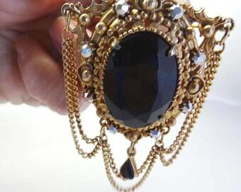 "By ""Florenza"" Black and Clear Rhinestone Brooch Brass Apparel & Accessories Jewelry Vintage Jewelry Brooch Rhinestone"