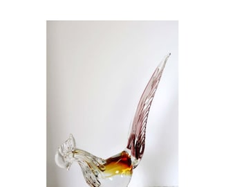 Italian Murano Glass Rooster Ruby, Caramel and Clear Farm Bird Home and Garden Home Decor Collectibles Figurines Animal Figurine Glass