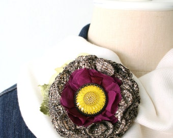Fall Accessory, Unique Gift for Women and Girls, Hat Pin, Floral Shawl Pin, Textile Brooch, Fabric Flower Pin, Sunflower Pin, Floral Brooch