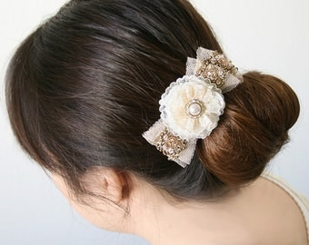 Bride Barrette, Bride Hairpiece, Bridal Barrette, Vintage Wedding Hairpiece, Gold Sequined Hair Bow, Pearl Barrette, Prom Hairpiece