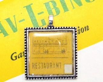 Restaurant Auto Car Bingo Pendant Necklace Vintage 1950s Image Key Ring