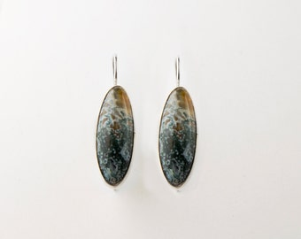 Minimal Oval Red Moss Agate Sterling Silver Earrings (23x9mm)