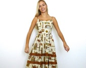 50s Novelty Old Timey Town Illustration Print Fitted Pleat Dress xxs