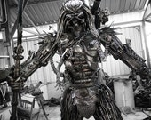 Recycled Metal Hunter with halberd ( 2.5m / 8.2 ft height )