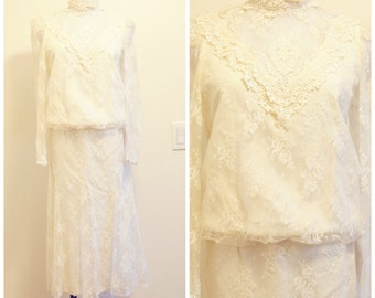 60s Lace Wedding Dress Set Small Cream Off White Shirt and Skirt High Collar Sheer Sleeves